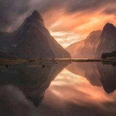 Milford Sound, sunset, New Zealand