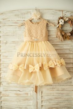 Champagne Lace Organza Wedding Flower Girl Dress with Belt/Bow