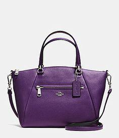 Coach Prairie Satchel In Bicolor Pebble Leather (Silver/Violet) Purple Purse, Purple Bags, Purple Handbags, Purple Love, All Things Purple, Purple Stuff, Tote Handbags, Purses And Handbags, Prada Handbags