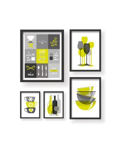 Yellow Grey Modern 5 Set Kitchen Decor Prints  by BlackPelican