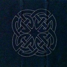 Celtic Knot 2 - a preprinted dark blue cotton fabric block for sashiko stitching.