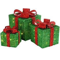 werchristmas gift box silhouette with 35 warm white led lights and tinsel green set of 3