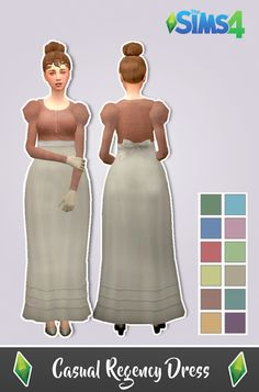 History Lover's Sims Blog: Casual Regency Dress • Sims 4 Downloads