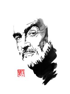 My tribute to the his career. Thank you Mr Connery. Sumi E Painting, Movie Characters, Art Photography, Career, Sculptures, Cinema, Singer, Actors, Drawings