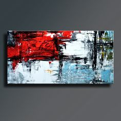 72 x 36 Red Black White Gray Blue Light Green by EditVorosArt