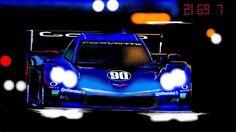 The Spirit of Daytona Corvette Daytona Prototype breaking thru the darkness in the 50th Rolex 24 at Daytona. Original Art by MLewis.