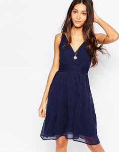 Vero+Moda+Deep+V+Skater+Dress