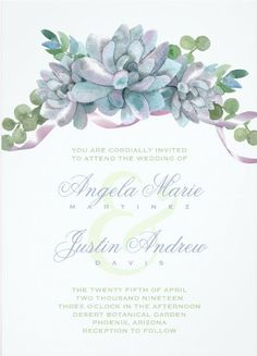 Watercolor Echeveria with Purple Ribbon Card - Rustic Succulent  Wedding Invitations - green and purple #rusticwedding