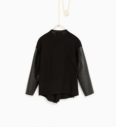 ZARA - KIDS - Cardigan with faux leather sleeves