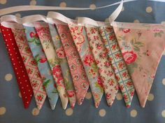 Bright and cheery double sided cath kidston  fabric  bunting,banner ,flag, party flags,perfect for baby showers,parties,bedrooms and photo. $17.50, via Etsy.