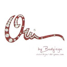 Stickers de peau Body'sign mariage Oh Oui paillette rouge et strass cristal