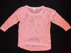 New GARNET HILL Mesh Open Weave Sweater in Peach Pink Hi-Lo Hem NWOT
