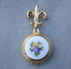 Coro Pegasus Guilloche Locket Fleur de Lis Pin by HighClassHighway