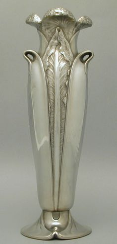 Vase / Christofle / Polished pewter vase with art nouveau floral decoration / French,   c.1905