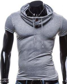0fa190137d Plain button up top for men slim fit cowl neck t shirts short sleeve  Fashion 2015