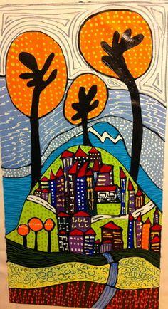 helvismith art : Wintertime Three Tree Village