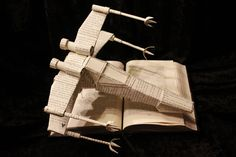 Star Wars X-Wing Book Sculpture made from Star Wars book
