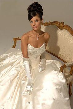 Online Sale Natty Scoop Neckline Beads Working Satin Simple Court Train Wedding Gown
