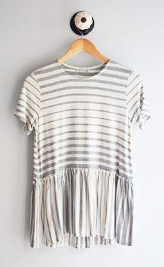 Grey Stripe Peplum