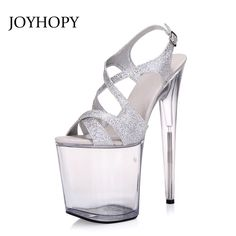 JOYHOPY Super High Heels 20cm Nightclub Crystal Sandals Women Party Dress  Shoes Woman Platform Wedding Pumps cca8a1b834f6