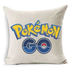 Cushion Game Style Pokemon Go LOGO Decorative Cushion Cotton Linen Sofa Car Home Decorative Throw Pillow Emoji Pillow