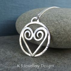 Heart & Textured Circle Sterling Silver Pendant - Loveheart Shiny Love Gift £44.00