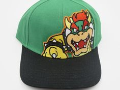 Nintendo Super Mario Bowser Green Bioworld Youth Childrens Size Snapback Hat  #Bioworld #BaseballCap  #Nintendo Super Mario Bowser