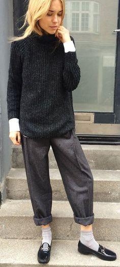 Dark Grey Retro Menswear Roll-up Wide Leg Pants