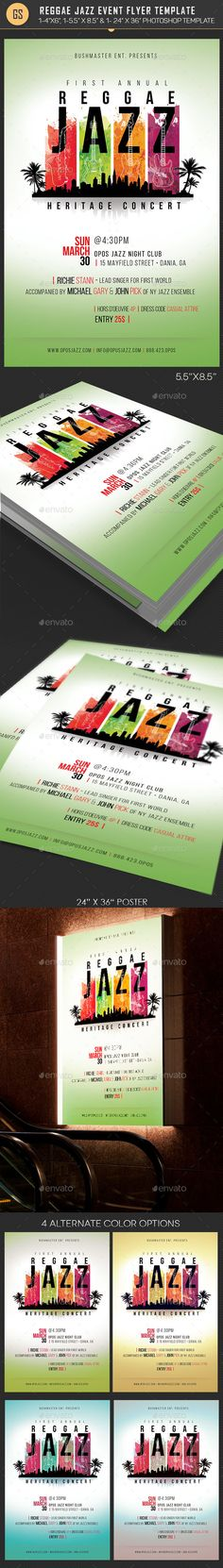 Reggae Jazz Event Flyer Poster #Template - #Events #Flyers Download here: https://graphicriver.net/item/reggae-jazz-event-flyer-poster-template/19532687?ref=alena994