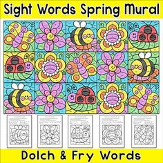 Summer Activities Color by Sight Words Mural: Create an eye-catching spring or Summer bulletin board while practicing sight words with this fun color-by-code mural!