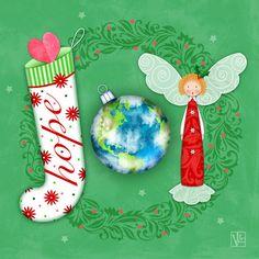 Joy of Christmas Canvas Print / Canvas Art by Valerie Drake Lesiak Christmas Canvas, Christmas Words, Christmas Quotes, Red Christmas, Vintage Christmas, Christmas Stockings, Whimsical Christmas, Canvas Art, Canvas Paintings