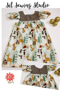 Girls Christmas dress foxes, snowman 2T. Holiday dress foxes, reindeer, owls dress Christmas dress ready to ship Size: 2T ready to ship by SilSewingStudio on Etsy