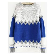 Diamond Pattern Blue Sweater (€16) ❤ liked on Polyvore featuring tops, sweaters, diamond pattern sweater, blue top and blue sweater