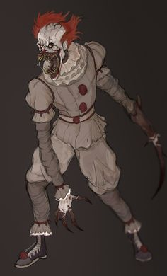 Pennywise - Full on creepy creature mode! Gruseliger Clown, Creepy Clown, Arte Horror, Horror Art, Scary Movies, Horror Movies, Big Heroes, Arte Alien, Pennywise The Dancing Clown