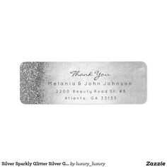 Silver Sparkly Glitter Silver Gray Thank You Return Address Label
