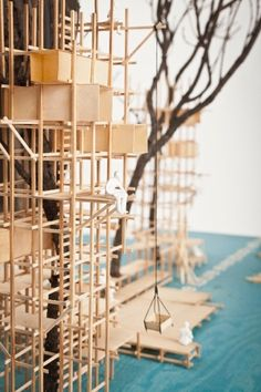 A proposal for temporarly wooden structure to host an art festival somewhere in the woods. by Thomas Lommée & Christiane Hoegner. Architecture Model Making, Wood Architecture, Architecture Drawings, Concept Architecture, Fujimoto Sou, Architect Jobs, Tree Structure, Arch Model, Scale Models