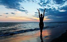 море, закат, силуэт, лето