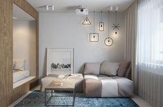 гостиная в дизайне прямоугольной студии 30 кв. м.