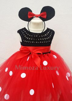 Super exquisite Mickey Mouse tutu dress in black and red Lovely and Unique Handmade Dress, perfect for your special birthday party, wedding, christeni Crochet Tutu Dress, Pink Tutu Dress, Pink Flower Girl Dresses, Baby Dress, Dress Red, Birthday Tutu, Birthday Dresses, Mickey Mouse Dress, Mickey Ears