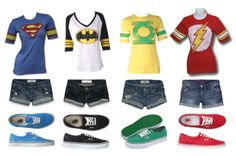 'Superhero clothes!!' LOL, this is my dream summer wardrobe. shorts and t-shirts it's been so long!