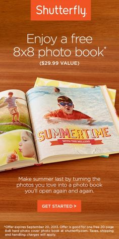 Get a FREE 20-page 8x8 Photo Book from Shutterfly (just pay shipping)!