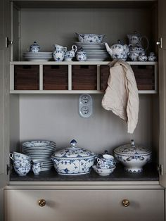 kitchen shelving nook with little bespoke wooden drawers