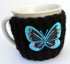 Black Knitted Cup Mug Cozy with Blue Butterfly by stinkR on Etsy, $15.00