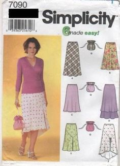 7090 Sewing Pattern Ladies Skirt with Variations 4 6 8 10