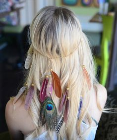 Jewel-Tone Cascading Feather Headband by Leto Collection