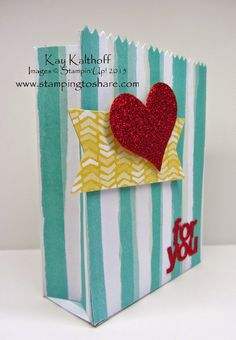 Gusseted Version of the Two Versions of the Mini Treat Bag with the Mini Treat Bag Thinlit Dies, Stamping to Share, Kay Kalthoff, Stampin' Up! Creative Gift Wrapping, Creative Gifts, Treat Bags, Gift Bags, Valentine Treats, Valentines, Scrapbook Cards, Scrapbooking, Treat Holder