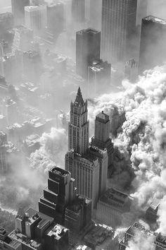 Aerial photo of the September 11 terrorist attacks
