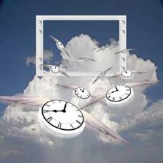 Surrealism Flying Clocks Blank Note Card