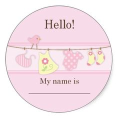 Pink Bird on a Clothesline Baby Shower Name Tag Sticker