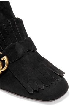 Gucci - Fringed Suede Ankle Boots - Black - IT37.5